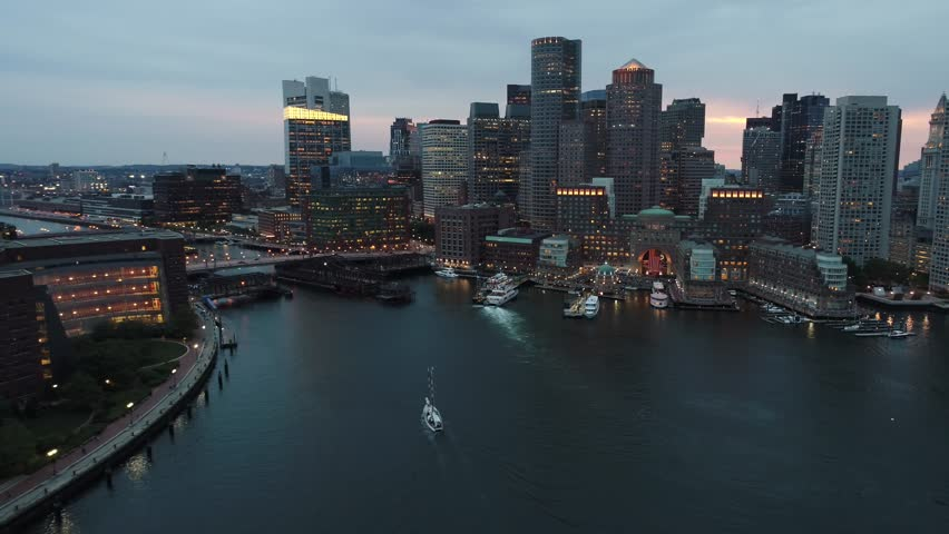 Aerial twilight Boston Downtown 4k 24p