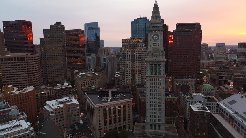 Aerial video historical buildings and clock tower downtown boston 4k