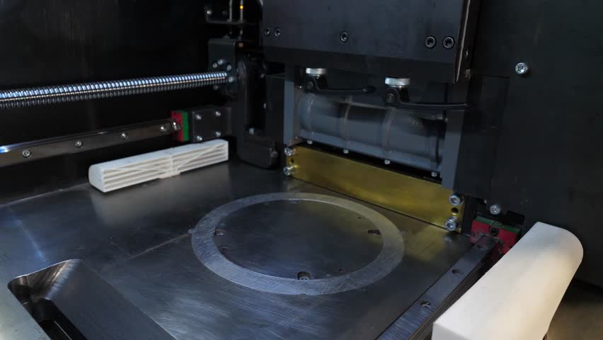 Automatic three dimensional 3d printer performs product creation. Modern 3D printing or additive manufacturing and robotic automation technology