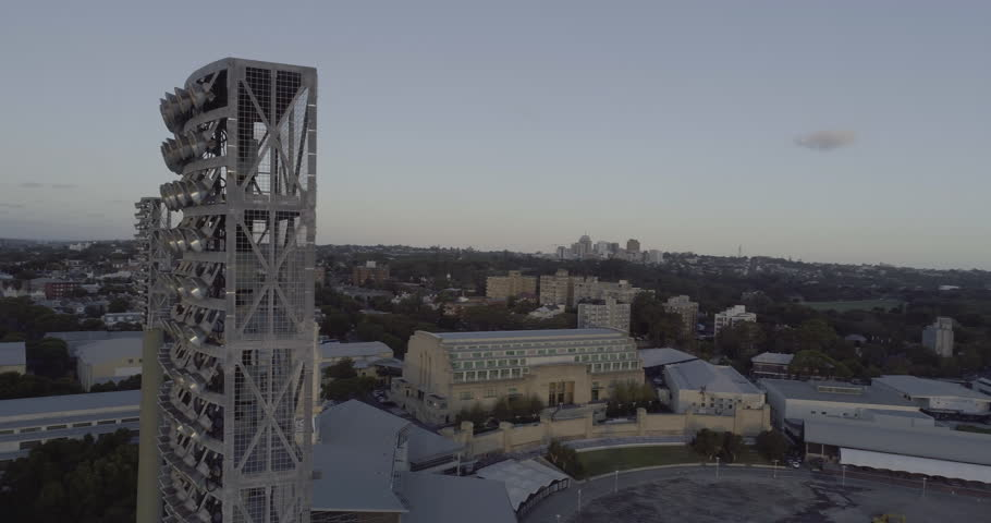 360º aerial view over the Sydney Cricket Ground ~ SCG ~ light tower. Sydney NSW Australia