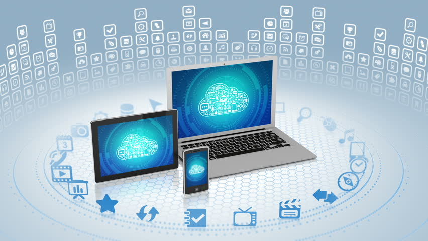 Camera zooms out of laptop screen with cloud computing concept on it | Shutterstock HD Video #2883688