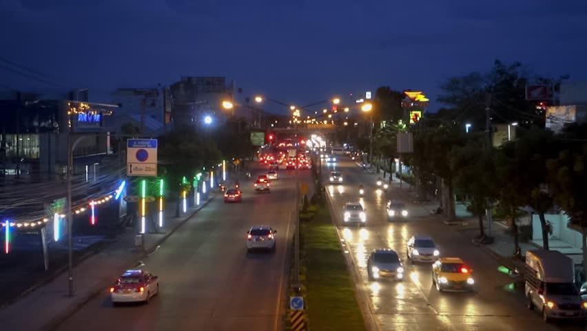 Lot of traffic on sunset at Bangkok, Thailand | Shutterstock HD Video #28836988