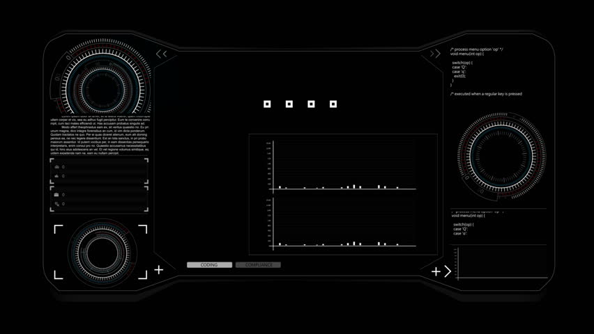 4K animation HUD head up display interface code graph bar element for network cyber technology concept  | Shutterstock HD Video #28838407
