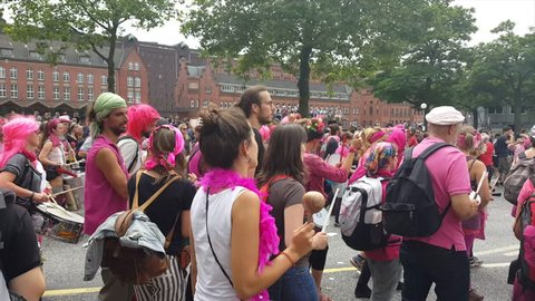 GERMANY - CIRCA JULY 2017 - G20 demonstration Hamburg, demonstrator crowd marches, drums, audio, pink wigs