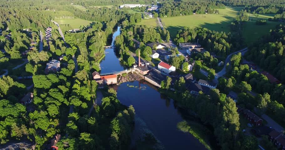Billnas, Cinema 4k aerial view above svarta river and towards pinjainen steelworks in Karjaa, Uusimaa, Finland | Shutterstock HD Video #28851343