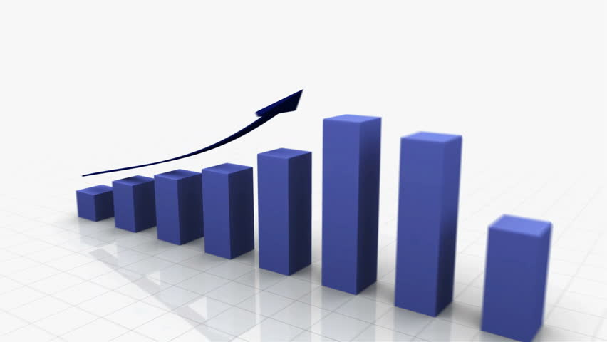 3D Growing Business Chart / bar graph in blue with Climbing Arrow. 8 Bars total Different variations of this file as well as many other business related animations available in my Contributor Gallery.   Shutterstock HD Video #2886409