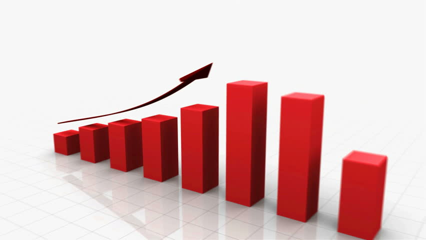 3D Growing Business Chart / bar graph in Red with Climbing Arrow. 8 Bars total. Different variations of this file as well as many other business related animations available in my Contributor Gallery.   Shutterstock HD Video #2886661