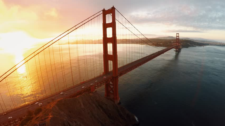 Aerial view of Golden Gate bridge San Fransisco