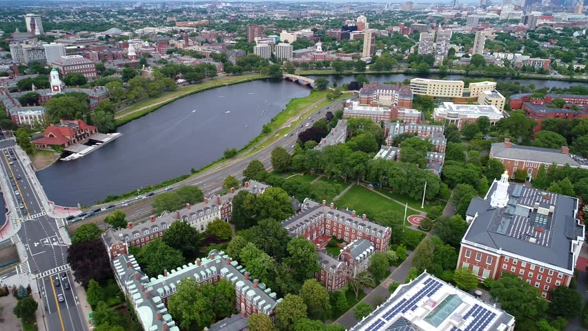 Aerial Boston video Harvard University Campus 4k