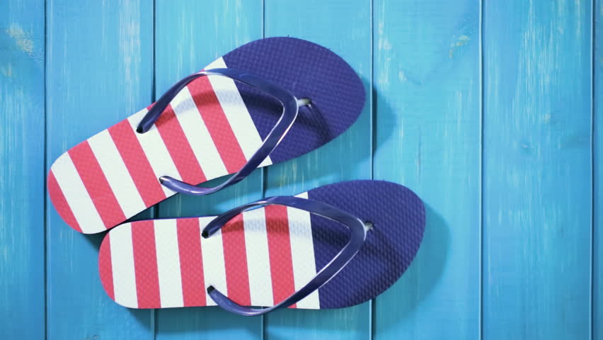 Flip Flops with Red White Stock Footage