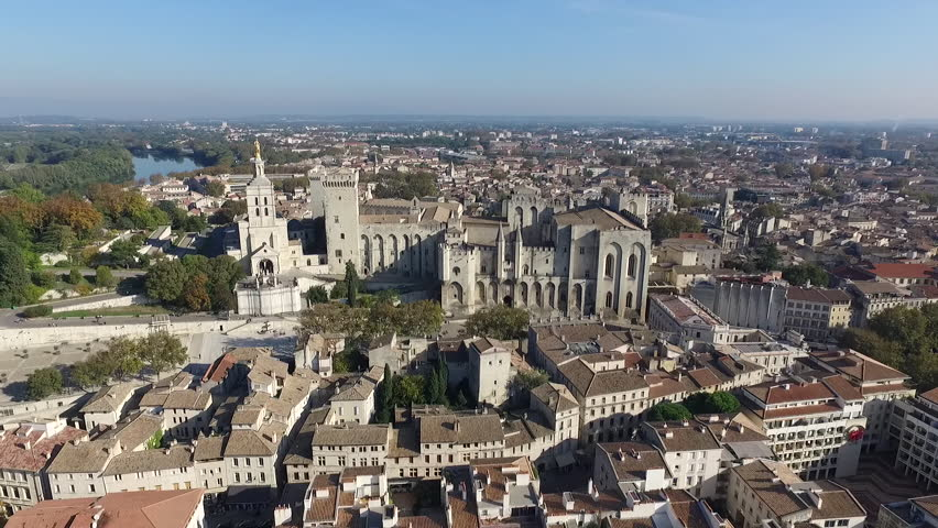 AVIGNON FRANCE NOV 2016 - AERIAL VIEW  OF THE HISTORICAL CENTER. PALACE OF THE POPES. FALL ATMOSPHERE IN PROVENCE.   Shutterstock HD Video #28897627