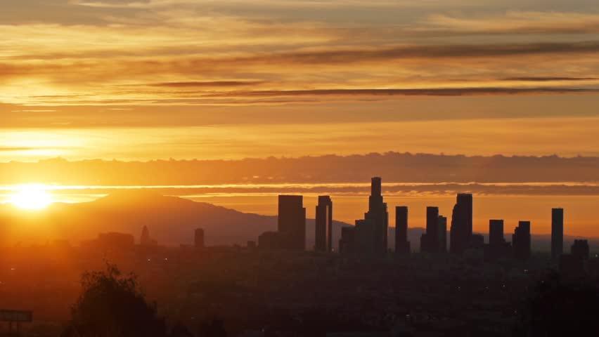 Sunrise over Los Angeles city