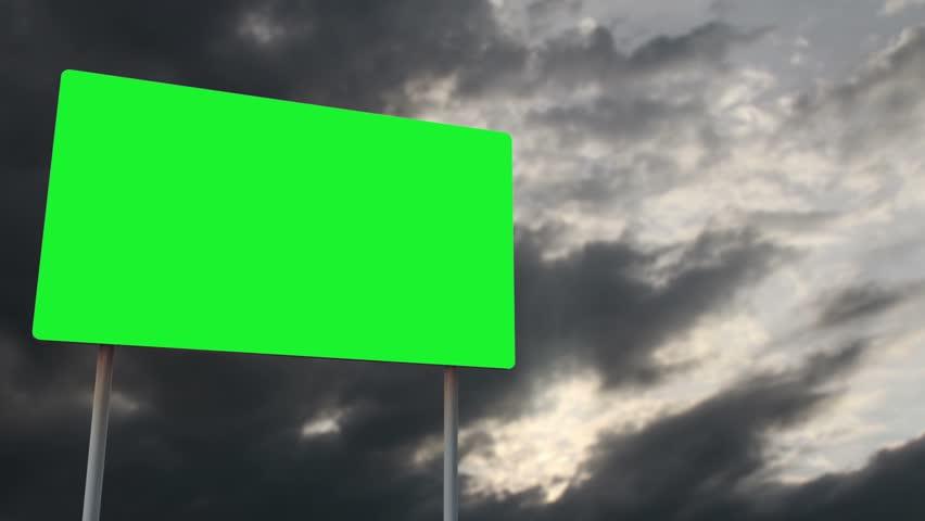 4K Green Screen Warning Pole Sign under Clouds Timelapse 2 | Shutterstock HD Video #28909429
