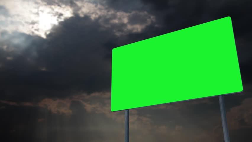 4K Green Screen Warning Pole Sign under Clouds Timelapse 1 | Shutterstock HD Video #28909435