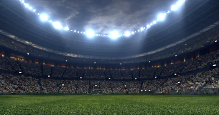 Footage of a dramatic soccer stadium. The stadium was made in 3d without using existing references. The crowd and light on the stadium are animated.
