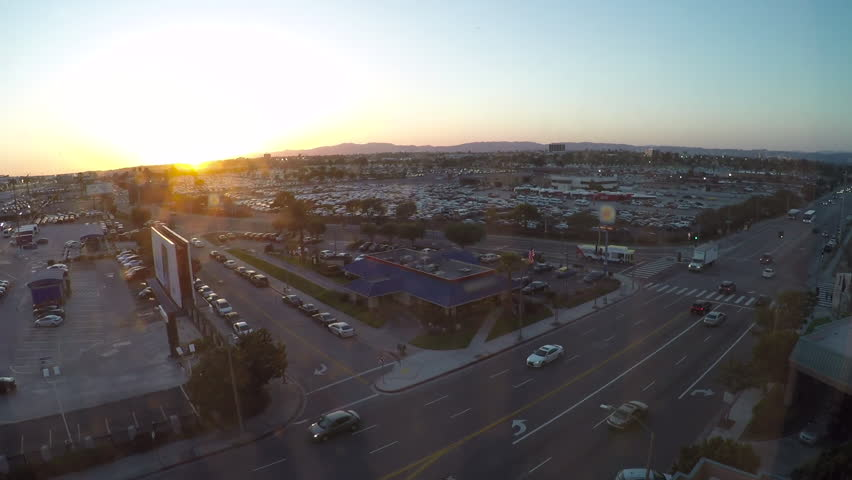 Day to Night Aerial Timelapse at Busy Intersection Near Airport | Shutterstock HD Video #28942870