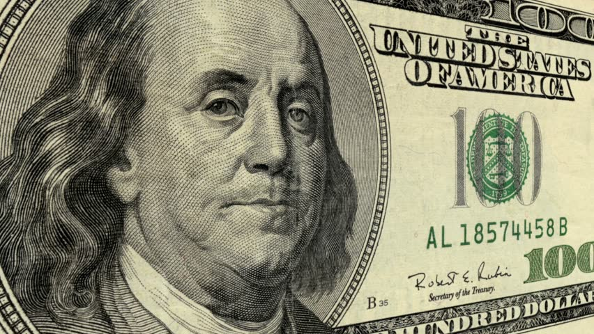 HD - Close up on president Benjamin Franklin on a one hundred dollar bill (Loop). | Shutterstock HD Video #2894512
