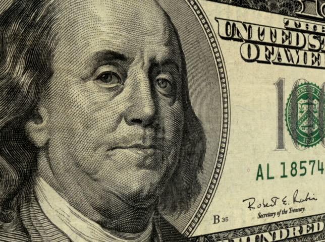 NTSC - Close up on president Benjamin Franklin on a one hundred dollar bill (Loop). | Shutterstock HD Video #2894515