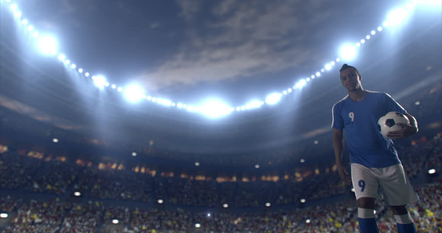 Soccer player gives hand to fallen opposite team player. They hug each other. Both are wearing unbranded soccer uniform. The stadium is with animated crowd. Stadium and crowd are made in 3D.