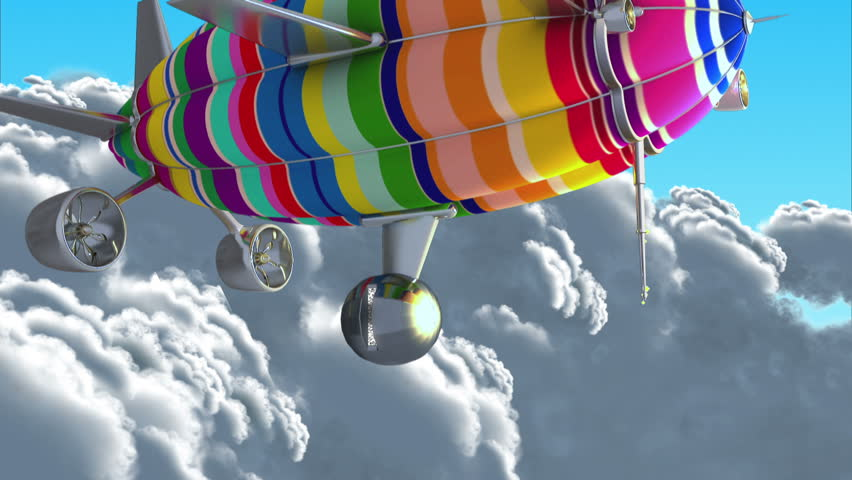 Colorful airship in the clouds. Introductory splash with green screen.