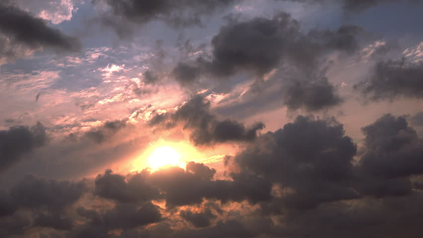 Sun and clouds at sunset, time lapse #29008471