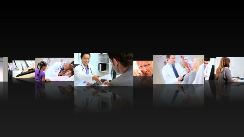 Montage 3D fly through images of health multi ethnic professionals working with patients in medical centers
