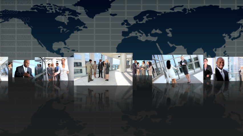 Montage 3D fly through view featuring successful multi ethnic groups of business people from around the world | Shutterstock HD Video #2901148