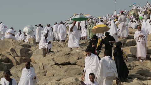 MECCA, SAUDI ARABIA - september 2016, Muslims at Mount Arafat (or Jabal Rahmah)  in Arafat, Saudi Arabia. This is the place where Adam and Eve met after being overthrown from heaven.