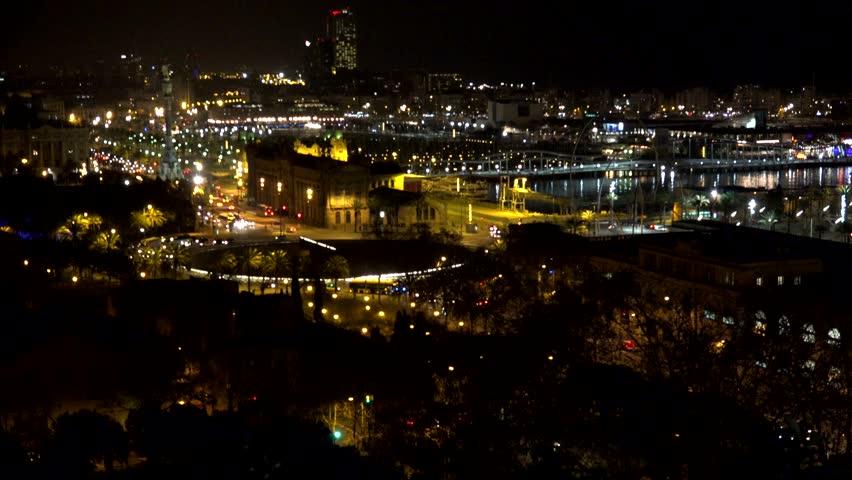 4K Timelapse of night traffic car in Barcelona port, people travel    Shutterstock HD Video #29022607