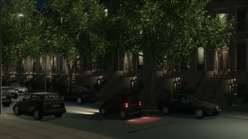 New York City residential district with historic brownstone buildings, parked and moving cars at night. View from the street panoramic establishing shot 3D animation rendered in 4K