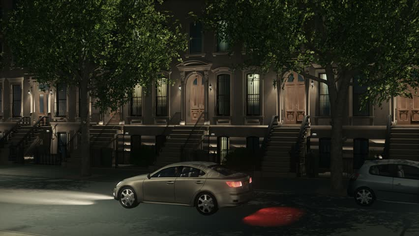 Zoom in establishing shot of New York City iconic brownstone residential buildings, view from the street with parked and moving cars at night. Realistic 3D animation rendered in 4K