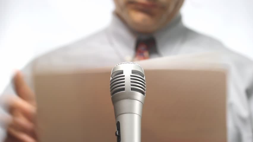 Press conference, microphone and spokesman with nothing to say   Shutterstock HD Video #2902822
