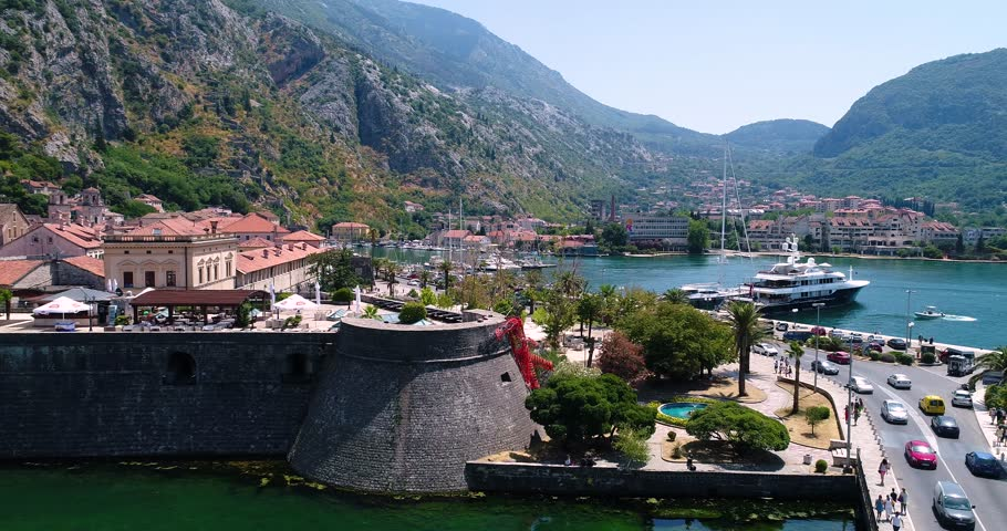 3 in 1. Budva, old and new town, Montenegro. Kotor bay. Aerial view. Part 6.