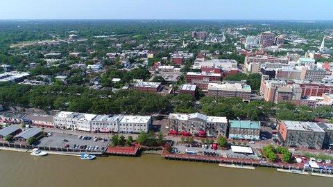Aerial footage Savannah Georgia historic Riverfront 4k