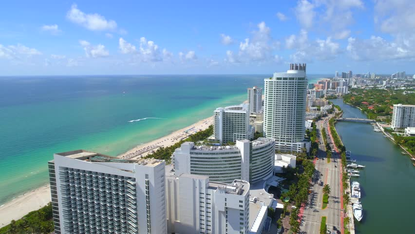 Aerial video beachfront resorts Miami Beach Florida 4k 24p