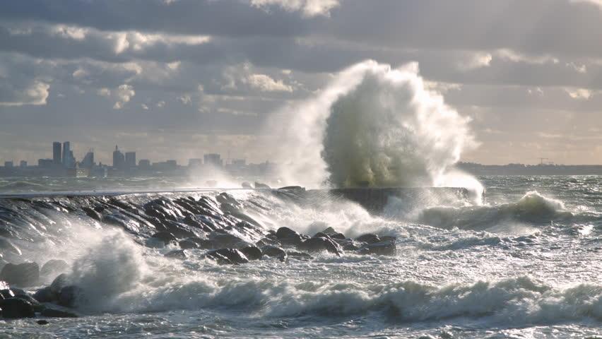 Big waves hitting the pier | Shutterstock HD Video #29065609