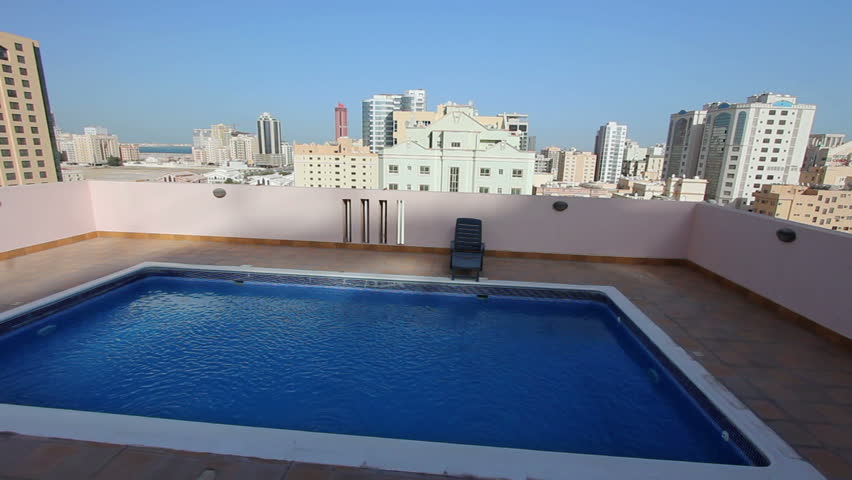 Swimming Pool At Roof Of Stock Footage