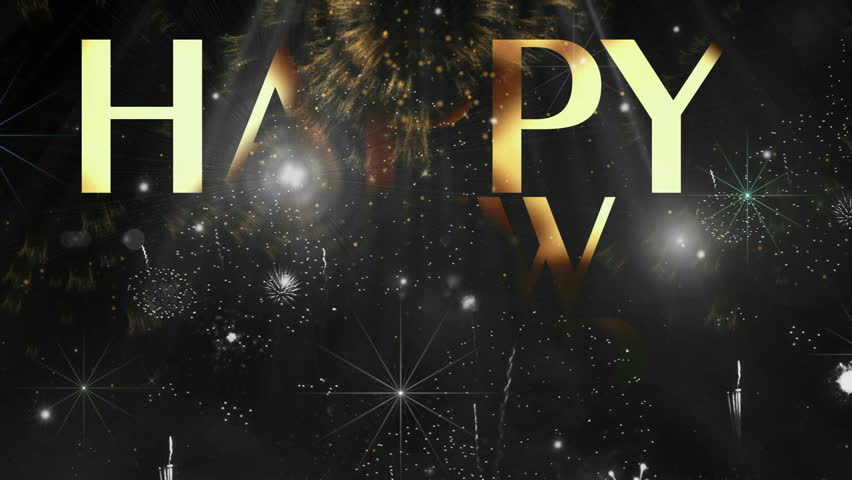 Holiday Fireworks Happy new year text animation ( Series 4 - Version from 1 to 12 ) +
