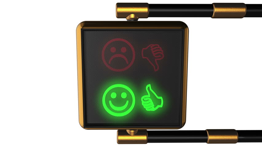 3d animation: Looped animated background old-style golden street traffic light alternately changing the symbols Smiley