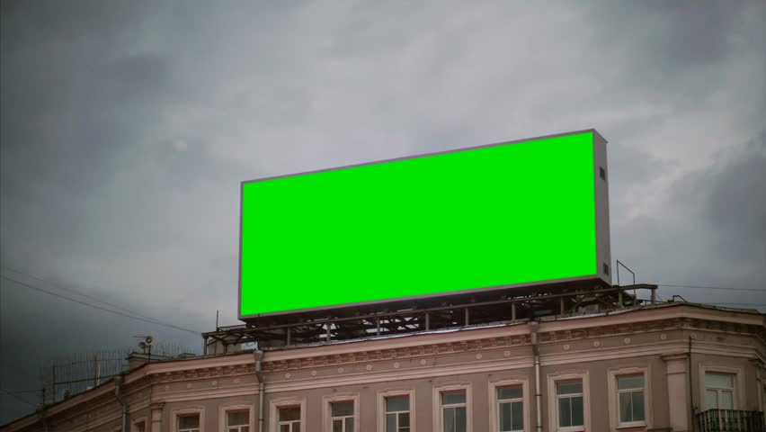 A Billboard with a Green Screen on the Building.Time Lapse | Shutterstock HD Video #29098873