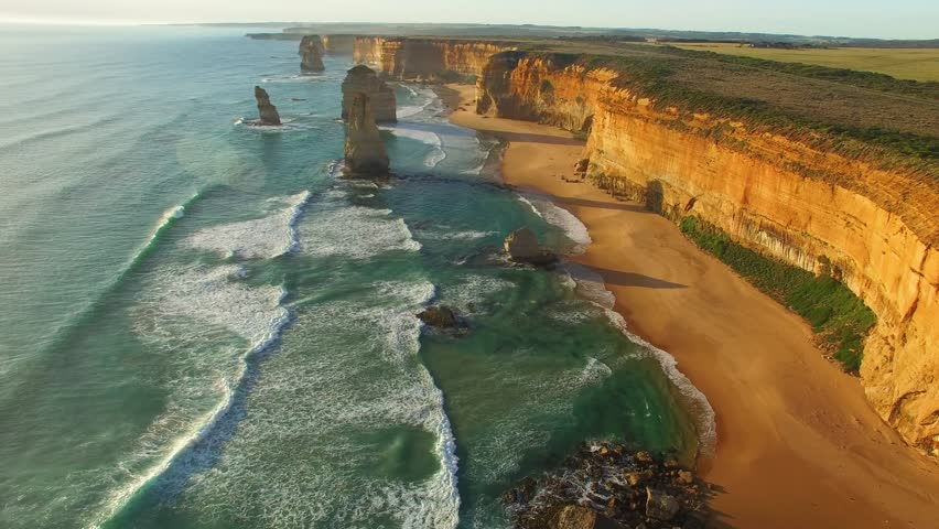 Twelve Apostles wonderful aerial view at sunset - Victoria, Australia.   Shutterstock HD Video #29117437