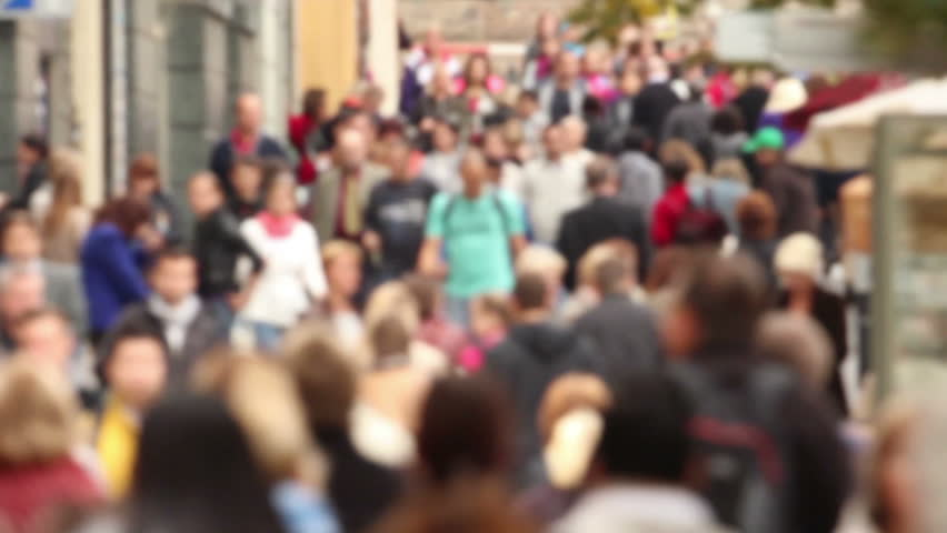 Large walking crowd, shot in Prague (isolated)   Shutterstock HD Video #2912128