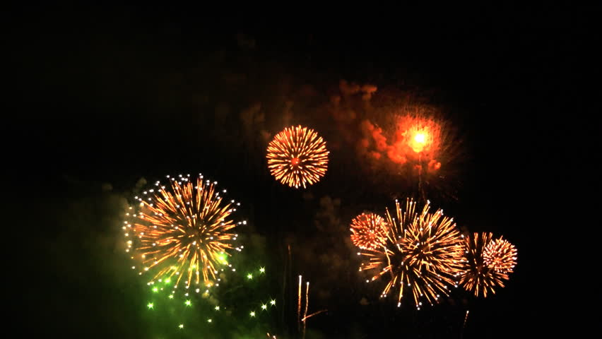 Colorful fireworks at holiday night HD 1080p