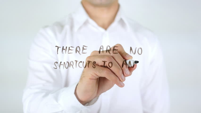 There Are No Shourcuts To any place Worth Go, Man Writing on Glass | Shutterstock HD Video #29133994