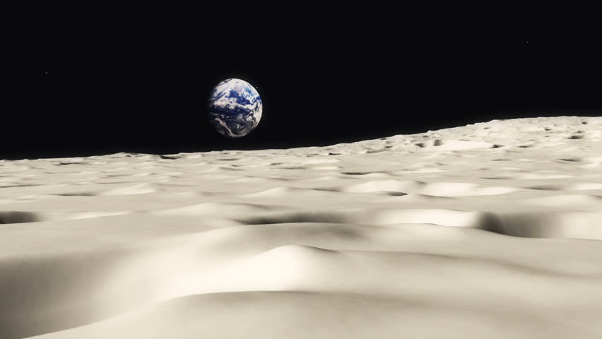Moon landscape animation with the Planet Earth rising over the horizon