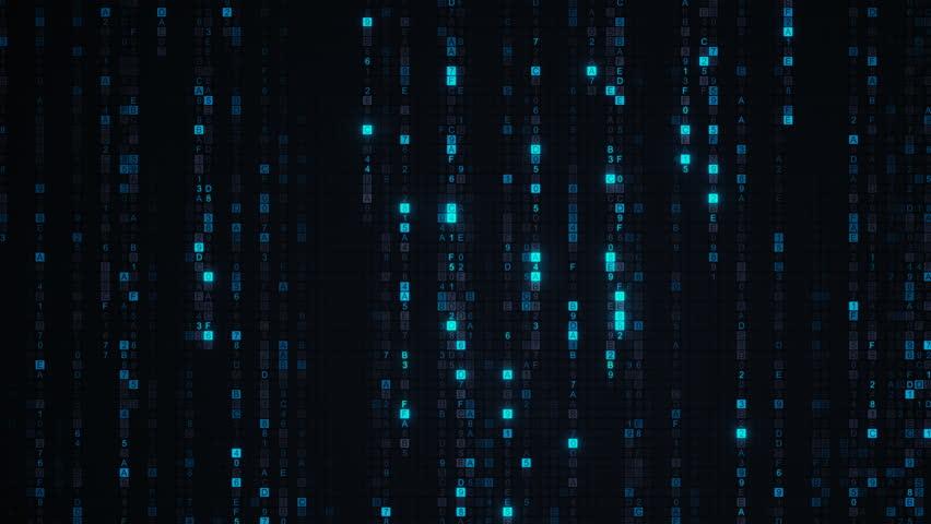 Blue matrix rain of digital HEX code. Computer generated abstract technology concept. Seamless loop animation 4k UHD (3840x2160) | Shutterstock HD Video #29140867