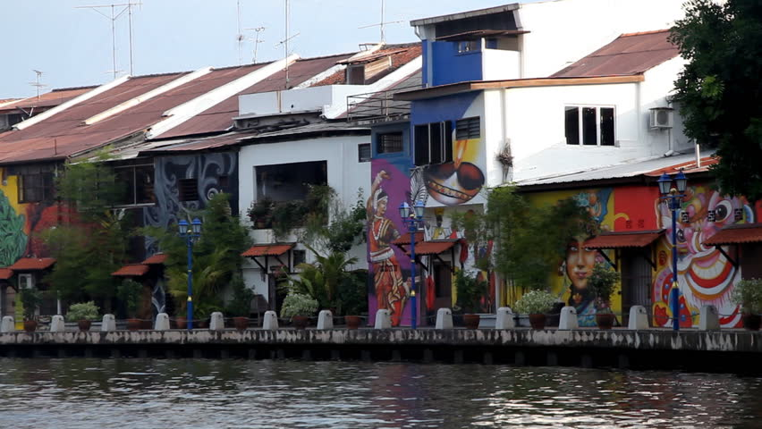MALACCA - SEPTEMBER 1: View from boat of waterfront buildings on September 1, 2012 in Malacca, Malaysia.