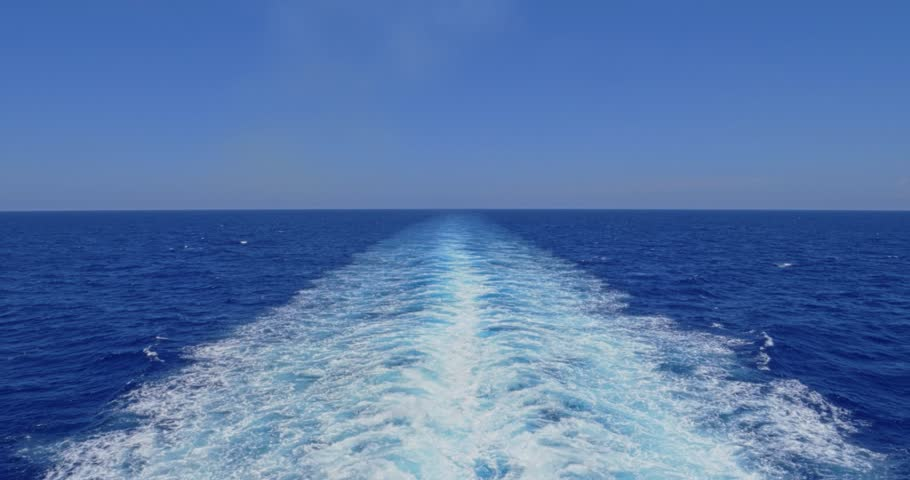 A slow motion view of the wake behind a large cruise ship at sea. Shot at 48fps.
