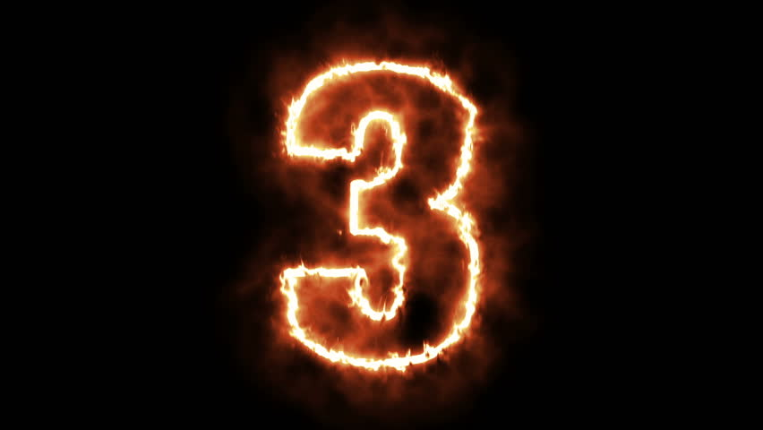 3 - three hot burning number on black background  | Shutterstock HD Video #29168125