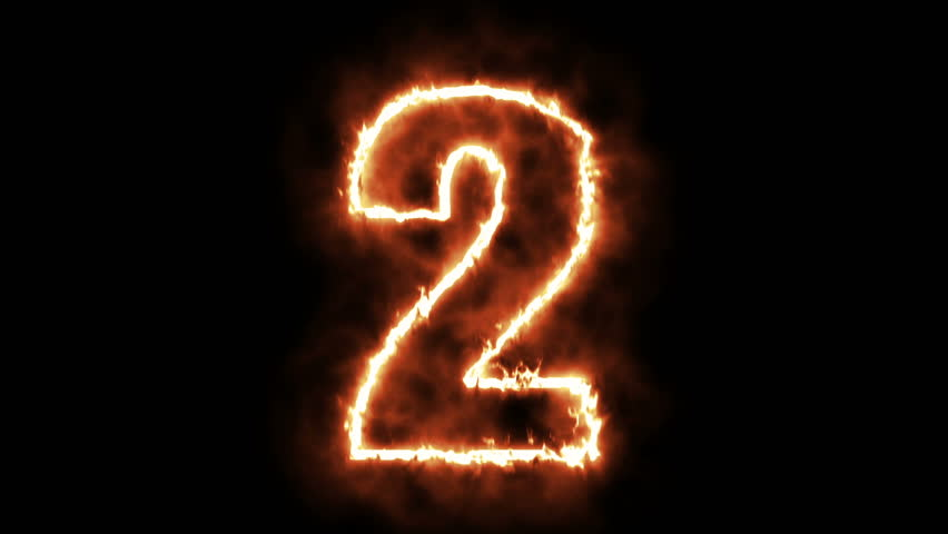 2 - two hot burning number on black background  | Shutterstock HD Video #29168158